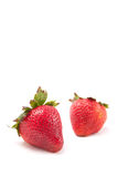 Two Fresh Ripe Strawberries Stock Photo