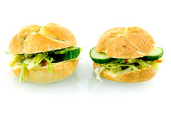 Two fresh sandwiches. Isolated on white background royalty free stock photo
