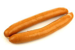 Two fresh sausages Stock Images