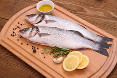 Two fresh sea bass fish on cutting board Royalty Free Stock Photography