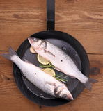 Two fresh sea bass fish on frying pan with ingredients Stock Photography