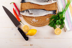 Two fresh sea bass on a white background. Top view. Royalty Free Stock Photo