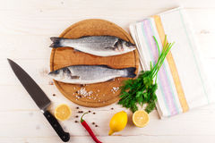 Two fresh sea bass on a white background. Top view. Royalty Free Stock Photography