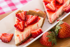 Two Fresh Slices of Cheesecake Dessert With Strawberries Stock Image