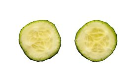 Two fresh slices of cucumber Royalty Free Stock Photos