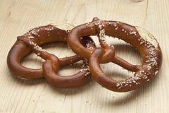 Two fresh soft pretzels Stock Image