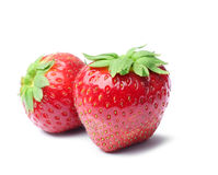 Two fresh strawberries Stock Photos