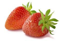 Two fresh strawberry  on white background Royalty Free Stock Photos