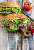 Two fresh submarine sandwiches royalty free stock photography
