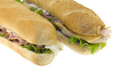 Two fresh subs on white Royalty Free Stock Photo