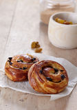 Two fresh sweet buns Royalty Free Stock Photos