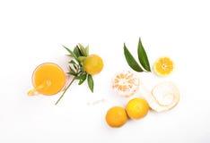 Two fresh tangerines on white background Stock Photo
