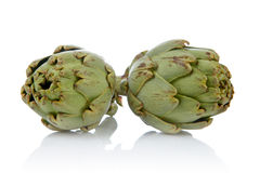 Two fresh and tasty artichokes Stock Image