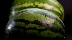Two fresh tasty watermelons. Slow motion: two fresh striped green huge big tasty watermelons at black surface and bakground. First slowly rolls by the floor stock video footage