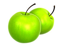 Two Fresh Yellow Green apples. Foods and Dishes Series. Royalty Free Stock Photography