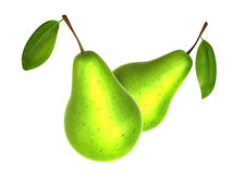 Two Fresh Yellow Green color Pear. Foods and Dishes Series. Stock Photo