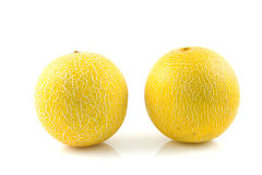 Two fresh yellow melon Royalty Free Stock Photo