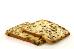 Two freshly baked currant bread slices Royalty Free Stock Images