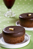 Two freshly baked mini chocolate cakes Stock Photo