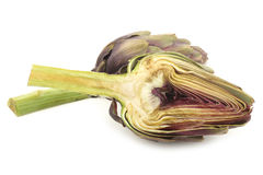 Two freshly cut artichoke halves Royalty Free Stock Photo