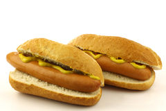 Two freshly homemade hot dogs Royalty Free Stock Images
