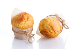 Two freshly made muffins stock image