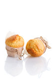 Two freshly made muffins royalty free stock photos