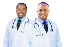 Two frican American Male Doctors Isolated on a White Background Royalty Free Stock Image