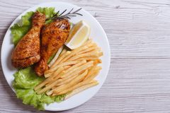 Two fried chicken drumsticks with french fries.  top view Royalty Free Stock Photos