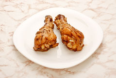 Two Fried Chicken Legs Royalty Free Stock Photos