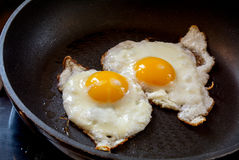 Two fried eggs in a black pan Royalty Free Stock Image