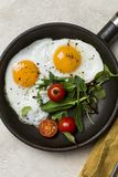 Two fried eggs with fresh salad on fried pan royalty free stock photos