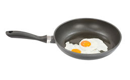 Fried eggs. Two fried eggs in frying pan Royalty Free Stock Images