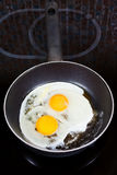 Two fried eggs in frying pan Royalty Free Stock Image