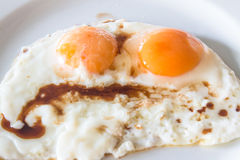 Colse up Two fried eggs for healthy breakfast food concept Royalty Free Stock Photos
