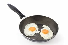 Two fried eggs on non-stick frying pan Royalty Free Stock Images
