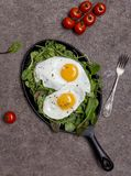Fried eggs on pan with herbs and cherry tomatoes on brown background royalty free stock image