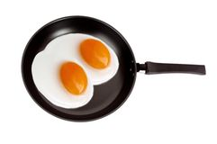 Two fried eggs on a pan isolated Royalty Free Stock Photos