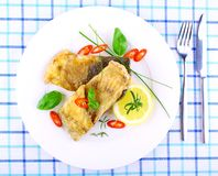 Two fried fish fillets with lemon slice on white plate Royalty Free Stock Image