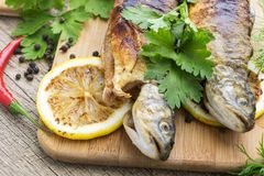 Two fried fish of kind of salmon with aromatic herbs and lemon Stock Photos