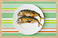 Two fried mackerel fishs Royalty Free Stock Photo