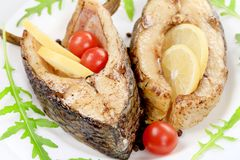 Two fried pieces of fish Royalty Free Stock Photo
