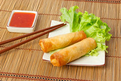 Two fried spring rolls on a plate Royalty Free Stock Photography