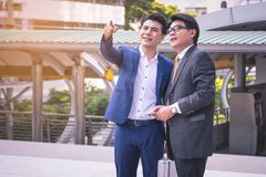 Two friend Business at city. Business team.  Royalty Free Stock Photography