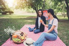 Two friend enjoying picnic while drinking a orange juice on summer picnic, leisure, holidays, eating, people and relaxation. Concept stock photography