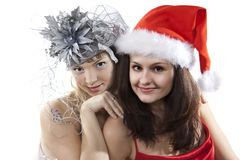 Two friend girl celebrate New Year. Royalty Free Stock Image