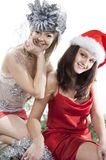 Two friend girl celebrate New Year. Stock Image
