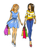 Two friend girls with shopping bags Stock Photo
