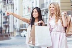Two friend having fun at shopping Royalty Free Stock Photos