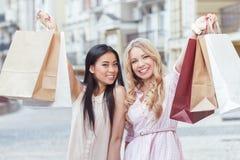 Two friend having fun at shopping Royalty Free Stock Photo